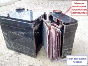 Устройство гелевого аккумулятора в прямоугольном корпусе