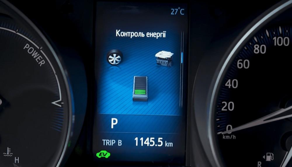 Дисплей на приборной панели показывающий заряд батареи