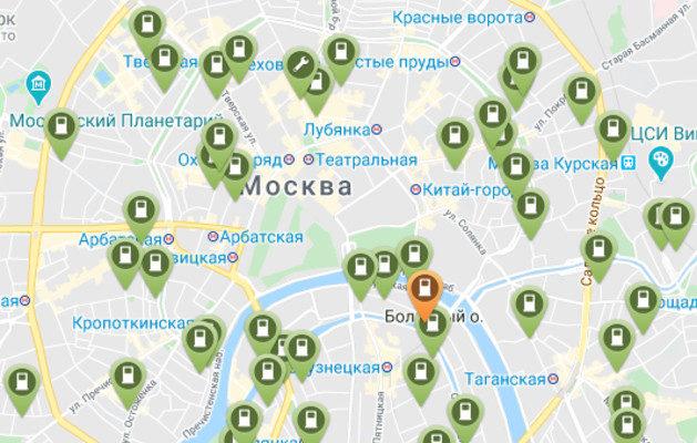 карта электрозаправок россии